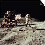 Apollo 16 Astronaut Salutes the US Flag on the Moon, July 21-24, 1971 Print