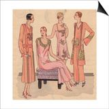 Night Dresses in Super Crepe, Night Ensemble in Crepe And Pyjamas From Art, Gout, Beaute, 1930 Prints