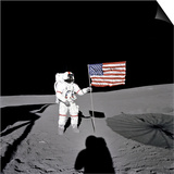 Apollo 14 Astronaut Alan B Shepard Stands by the US Flag on the Lunar Fra Mauro Highlands Poster