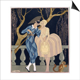 Harlequin's Kiss Art by Georges Barbier