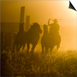 Silhouette of a Wrangler Roping Horses, Ponderosa Ranch, Seneca, Oregon, USA Poster by Wendy Kaveney