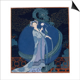 Lady With a Dragon Posters by Georges Barbier