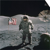 Apollo 17 Astronaut Stands Between US Flag and Lunar Rover, Dec 12, 1971 Prints