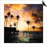 Sunset on the Pier B Prints by  GI ArtLab