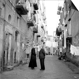 A Priest Chats to an Elderly Man in a Street, Naples, Italy 1957 Prints