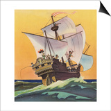 Illustration of Peter Pan and the Darling Children at Sea by Roy Best Prints by Roy Best