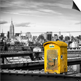 Police Emergency Call Box on the Walkway of the Brooklyn Bridge with Skyline of Manhattan Print by Philippe Hugonnard