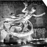 The Prometheus Statue with Snow by Night at Rockefeller Center in New York Posters by Philippe Hugonnard