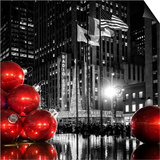 The Giant Christmas Ornaments on Sixth Avenue across from the Radio City Music Hall by Night Prints by Philippe Hugonnard