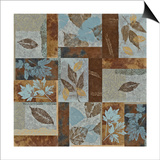 Blue Fusion II - Geometric Leaves in Blue and Brown Prints by Jeni Lee