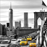 Yellow Taxi on Brooklyn Bridge Overlooking the One World Trade Center (1WTC) Prints by Philippe Hugonnard