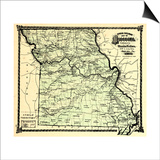 1877, State Map, Missouri, United States Posters