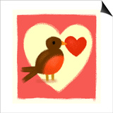 Robin with Heart Posters