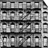 Building Facade in Red Brick, Stairway on Philadelphia Building, Pennsylvania, US Square Prints by Philippe Hugonnard