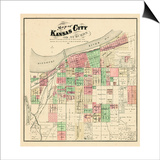 1877, Kansas City and Suburbs, Missouri, United States Poster