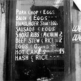 Soul Food; Menu in the Window of a Restaurant, Detroit, Michigan, 1940 Prints