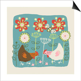 Brown and White Hens Print