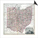 1875, Railroad Map, Ohio, United States Prints