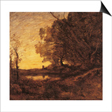 Evening. Distant Tower Posters by Jean-Baptiste-Camille Corot