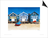 Blue Beach Huts Prints by Margaret Heath