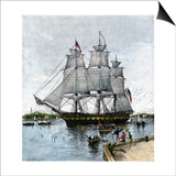 """USS """"Constitution"""" Being Towed Out of Boston Harbor, 1812 Art"""