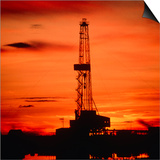 Oil Drilling Rig, Russia, At Sunset Prints by Ria Novosti
