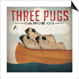 Three Pugs in a Canoe Print by Ryan Fowler