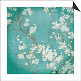 White Cherry Blossoms II on Blue Aged No Bird Poster by Danhui Nai