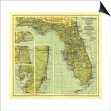 1930 Florida Map Prints