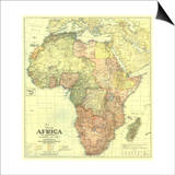 1922 Africa Map with portions of Europe and Asia Prints by  National Geographic Maps