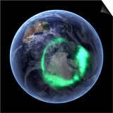 Aurora Over Antarctica, Satellite Image Art