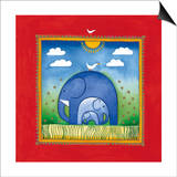 Elephants Prints by Linda Edwards