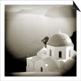 Polaroid of Domed Church, Oia, Santorini, Cyclades, Greek Islands, Greece, Europe Prints by Lee Frost
