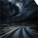 Tornado Near a Winding Road in the Mountains, Crete, Greece Posters