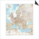 1957 Europe Map Prints by  National Geographic Maps