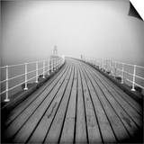 Timber Boardwalk of Whitby Pier on Misty Winter's Day, Whitby, North Yorkshire, England, UK Print by Lee Frost