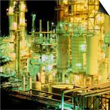 Oil Refinery At Night Prints by Kaj Svensson