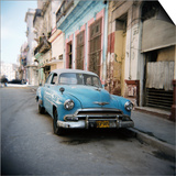 Old Blue American Car, Cienfugeos, Cuba, West Indies, Central America Posters af Lee Frost
