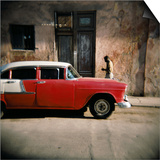 Old Red Car, Havana, Cuba, West Indies, Central America Prints by Lee Frost