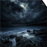 Black Rocks Protruding Through Rough Seas with Stormy Clouds, Crete, Greece Art