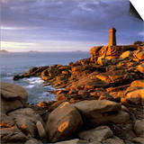 Ploumanach Lighthouse on the Cote De Granit Rose (Pink Granite Coast) Poster by Stuart Black
