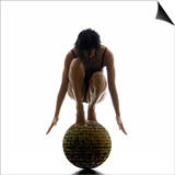 Woman Balancing on Globe Print by Alfonse Pagano