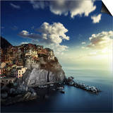 View of Manarola on the Rocks at Sunset, La Spezia, Liguria, Northern Italy Posters