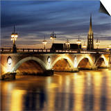 River Garonne and Pont de Pierre at Dusk, Bordeaux, Aquitaine, France, Europe Posters by Stuart Black
