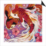 Koi and Cherry Blossoms Prints by Natasha Wescoat