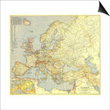 1938 Europe and the Mediterranean Map Print