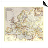 1943 Europe, and the Near East Map Art by  National Geographic Maps