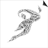 Rugby Football Pictogram With Black Wordings Prints by  seiksoon