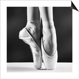 A Photo Of Ballerina'S Pointes On Black Background Prints by  PS84