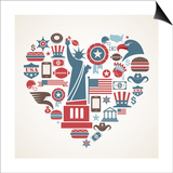 America Love - Heart Prints by  Marish